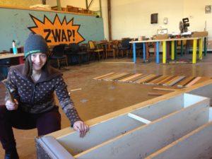 Alexa prepares to trimscot the Wheel of Zero table for the ZWAP! room