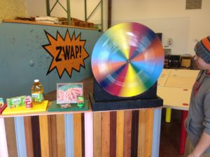 Robert spins the Wheel of Zero, one of our ZWAP! games