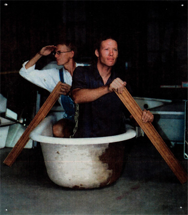 Home ReSource founders rowing a bathtub